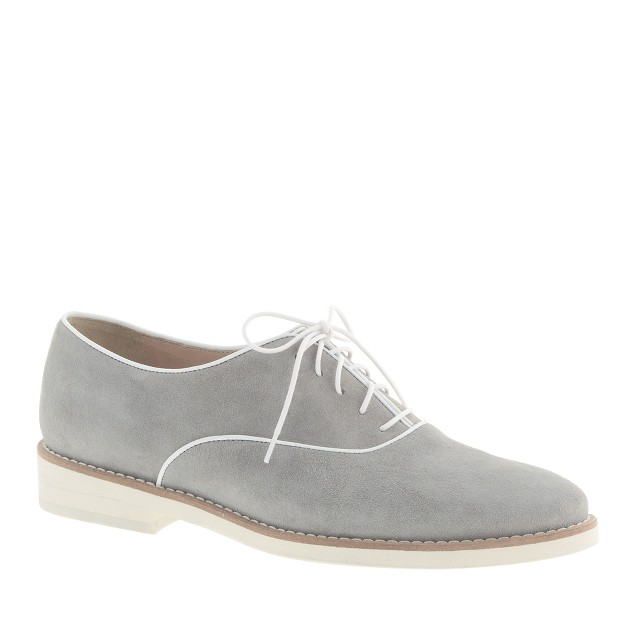 Piped suede loafers