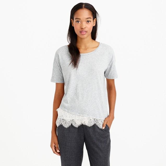 Lace-trim T-shirt
