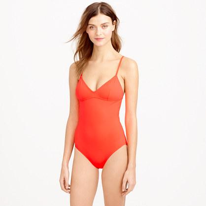 Neon V-neck one-piece swimsuit