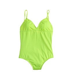 Long torso neon V-neck one-piece swimsuit