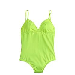 Long torso neon V-neck one-piece swimsuit
