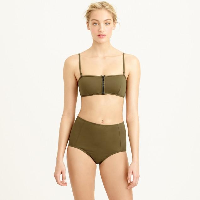 Italian matte zip bandeau bikini top