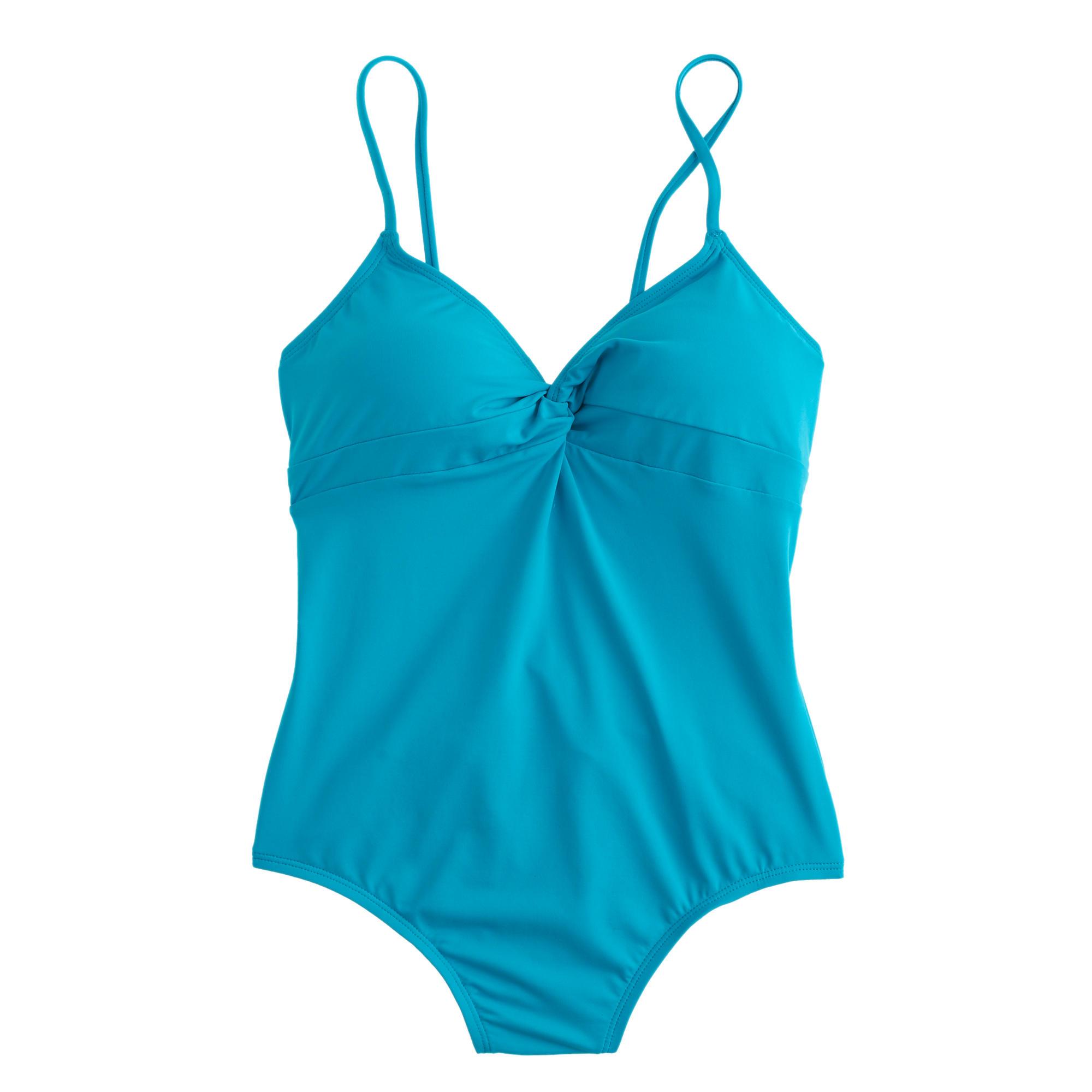 Italian matte twist-front one-piece swimsuit