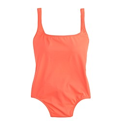 Long torso neon scoopback one-piece swimsuit
