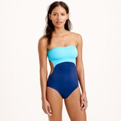 colorblock cutout halter onepiece swimsuit jcrew