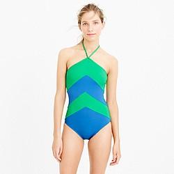 Chevron halter one-piece swimsuit