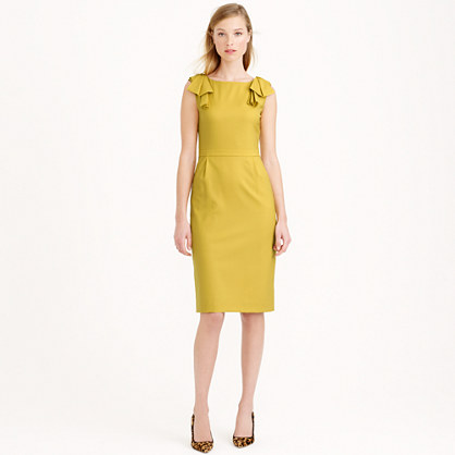 98df2b3565 Bow-shoulder dress in Super 120s wool