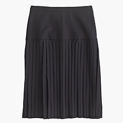 Petite drop-waist pleated skirt in Super 120s wool