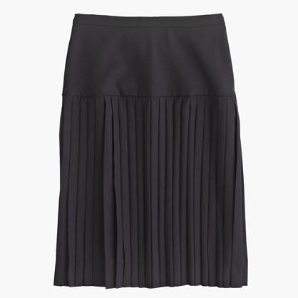 Petite drop-waist pleated skirt in Super 120s wool