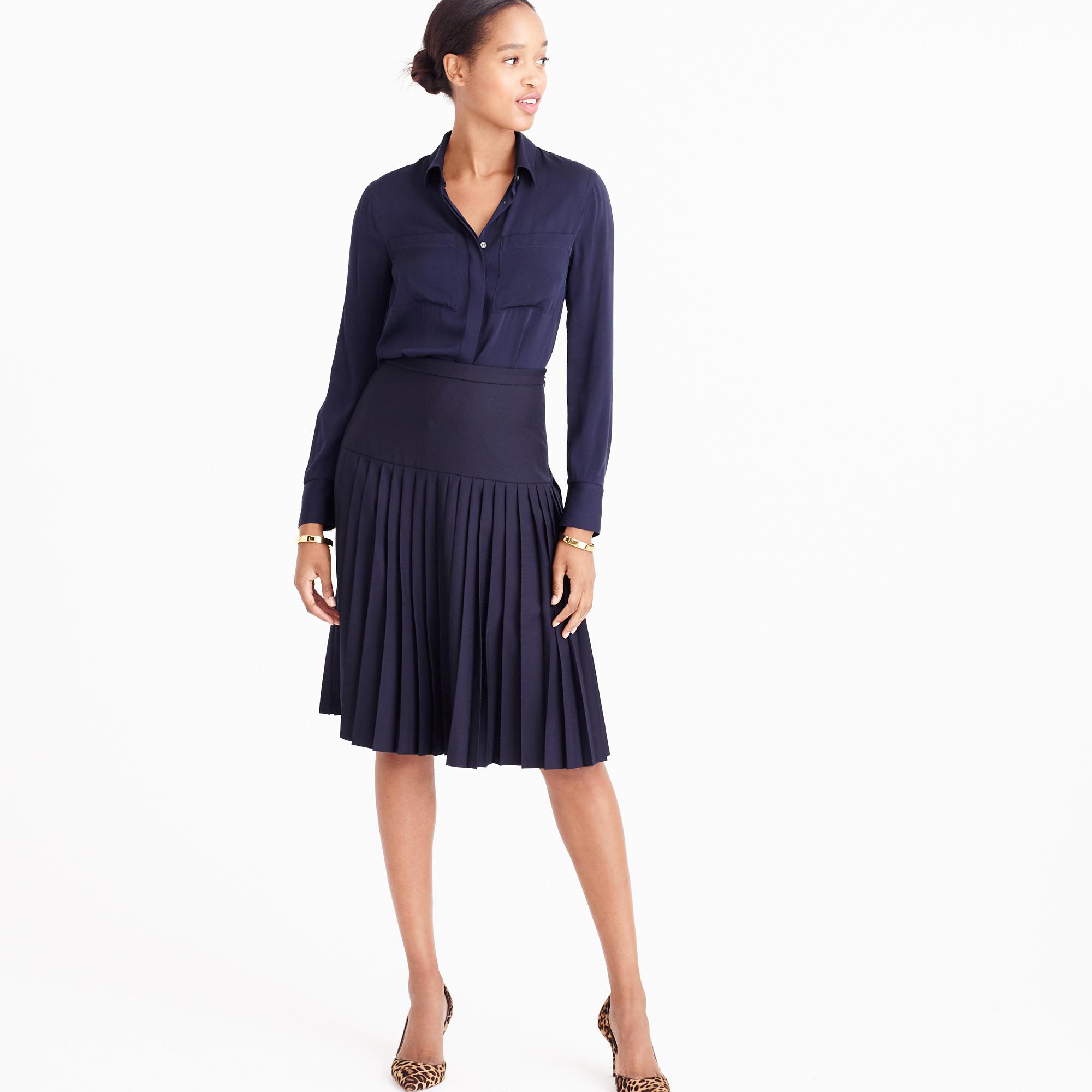 Drop-Waist Pleated Skirt In Super 120S Wool : Women's Suit Skirts ...