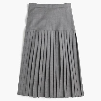 Drop-waist pleated skirt in Super 120s wool