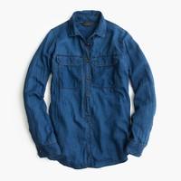 Tall indigo gauze popover shirt