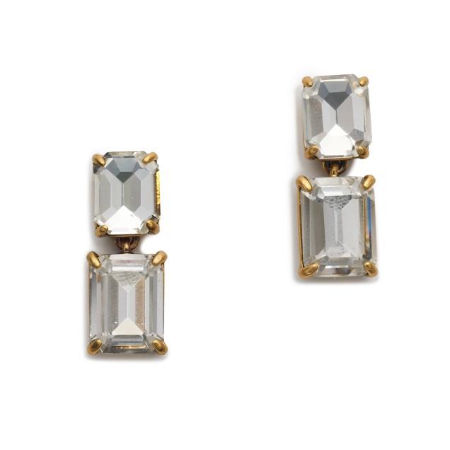 Linked crystal earrings