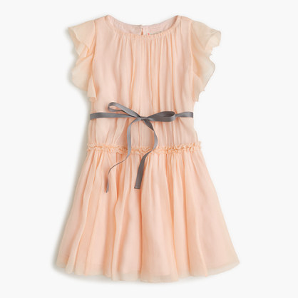 Girls' ruffle-sleeve dress in silk chiffon