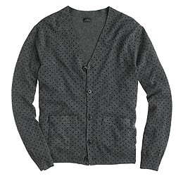 Italian cashmere V-neck cardigan sweater in dot