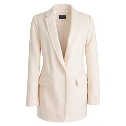 Petite Collection long one-button blazer in linen