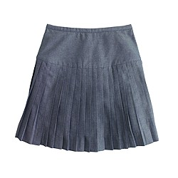 Chambray pleated mini skirt