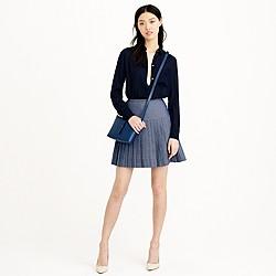 Chambray pleated mini skirt