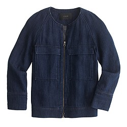 Indigo collarless jacket