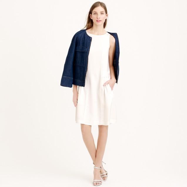 Drapey oxford crepe sleeveless dress