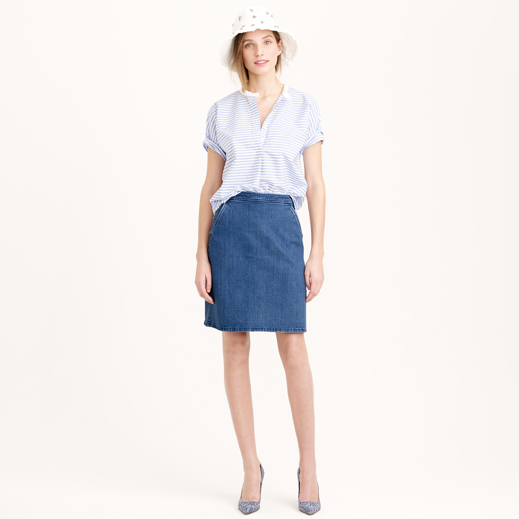 High-waisted denim mini skirt : | J.Crew