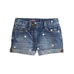 Girls' cowgirl roll-up jean short in mini hearts