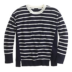 Italian cashmere side-panel sweater in stripe