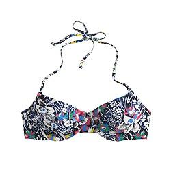 DD-cup Demi-underwire halter bikini top in Liberty Santa Maria floral