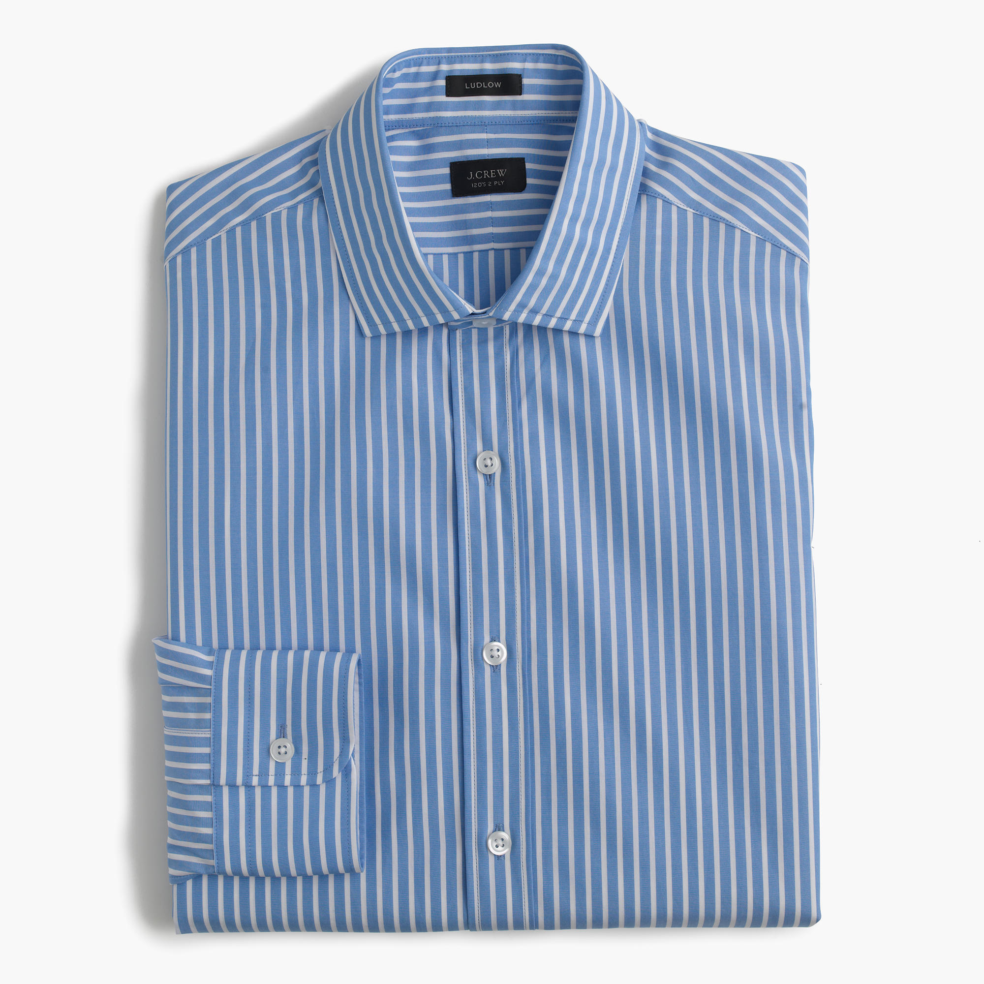 Ludlow spread collar shirt in mountain stream stripe men for What is a spread collar shirt