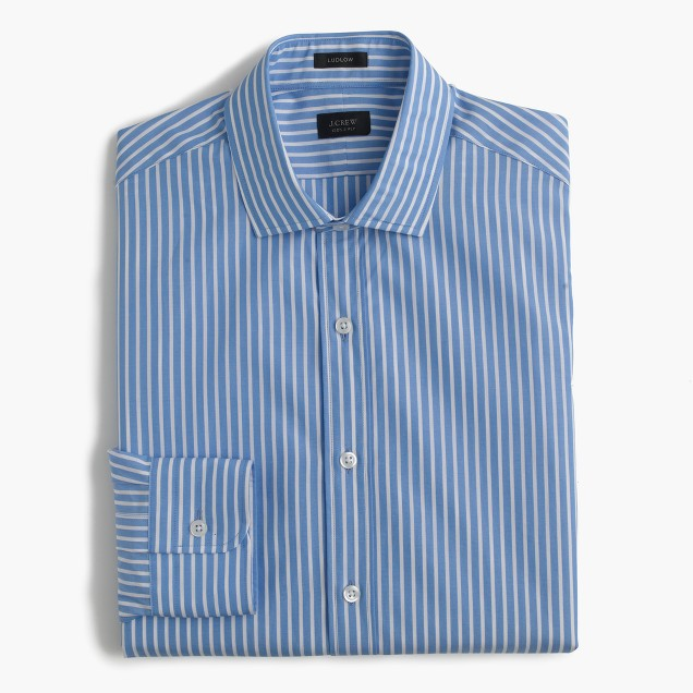 Ludlow spread-collar shirt in mountain stream stripe