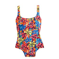 Sunset floral scoopback one-piece swimsuit