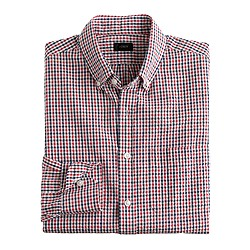 Seersucker shirt in red tattersall
