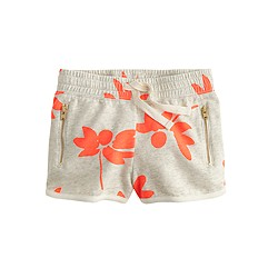 Girls' pull-on track short in neon flowers