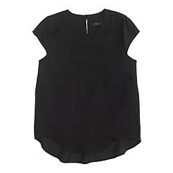 Petite drapey oxford crepe cap-sleeve top