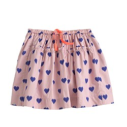 Girls' pull-on drawstring skirt in heart print