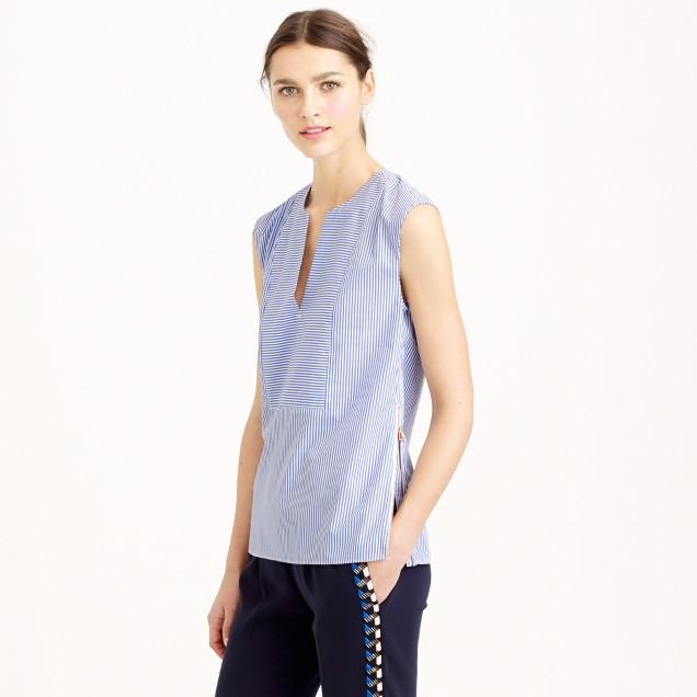 Petite sleeveless side-zip top in stripe