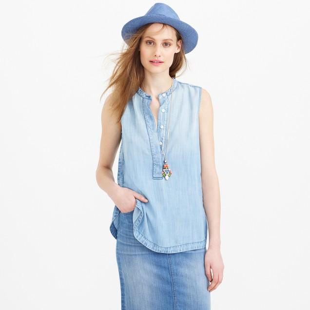 Petite drapey chambray popover shirt