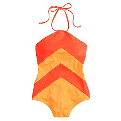 Chevron stripe halter one-piece swimsuit
