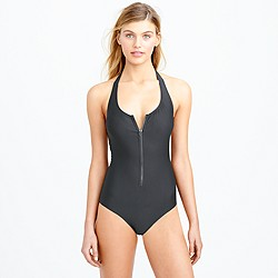 Zip-front one-piece swimsuit