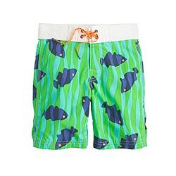 Boys' board short in fish print