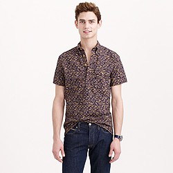 Secret Wash short-sleeve popover shirt in authentic navy batik