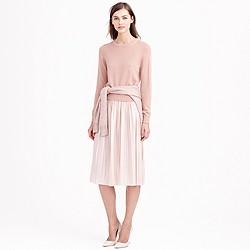 Metallic pleated midi skirt