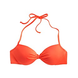 Neon gathered halter underwire bikini top