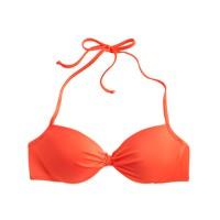 Neon gathered halter underwire bikini top