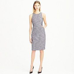 Tipped tweed sleeveless dress