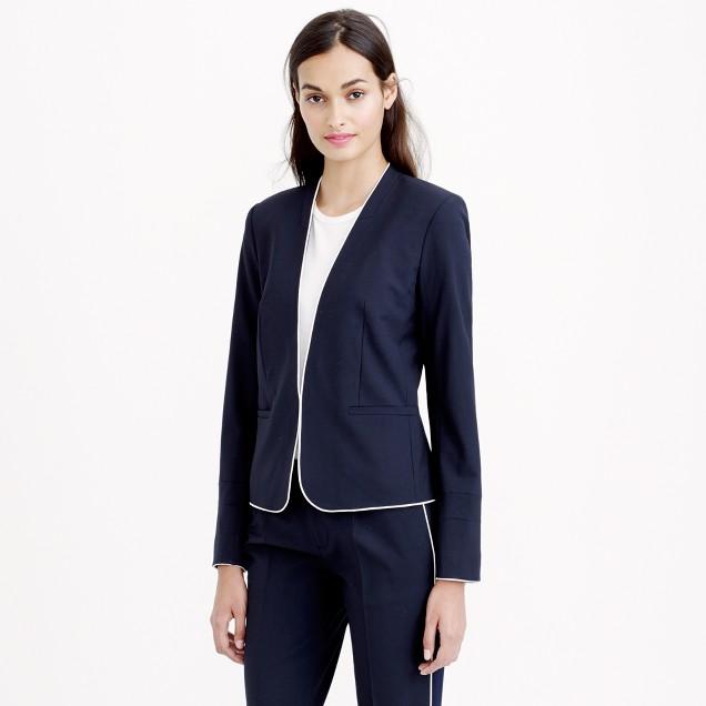 Tipped collarless blazer in Italian stretch wool