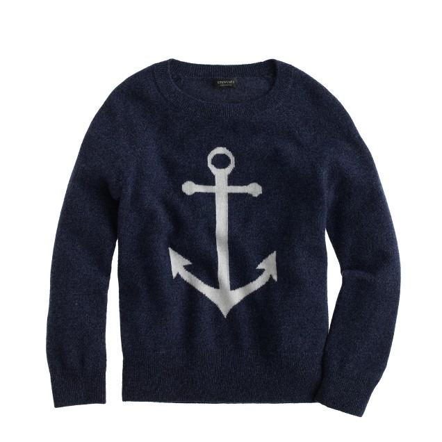 Kids' Italian cashmere anchor sweater
