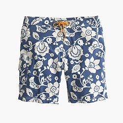 "9"" board short in blue hawaiian floral"