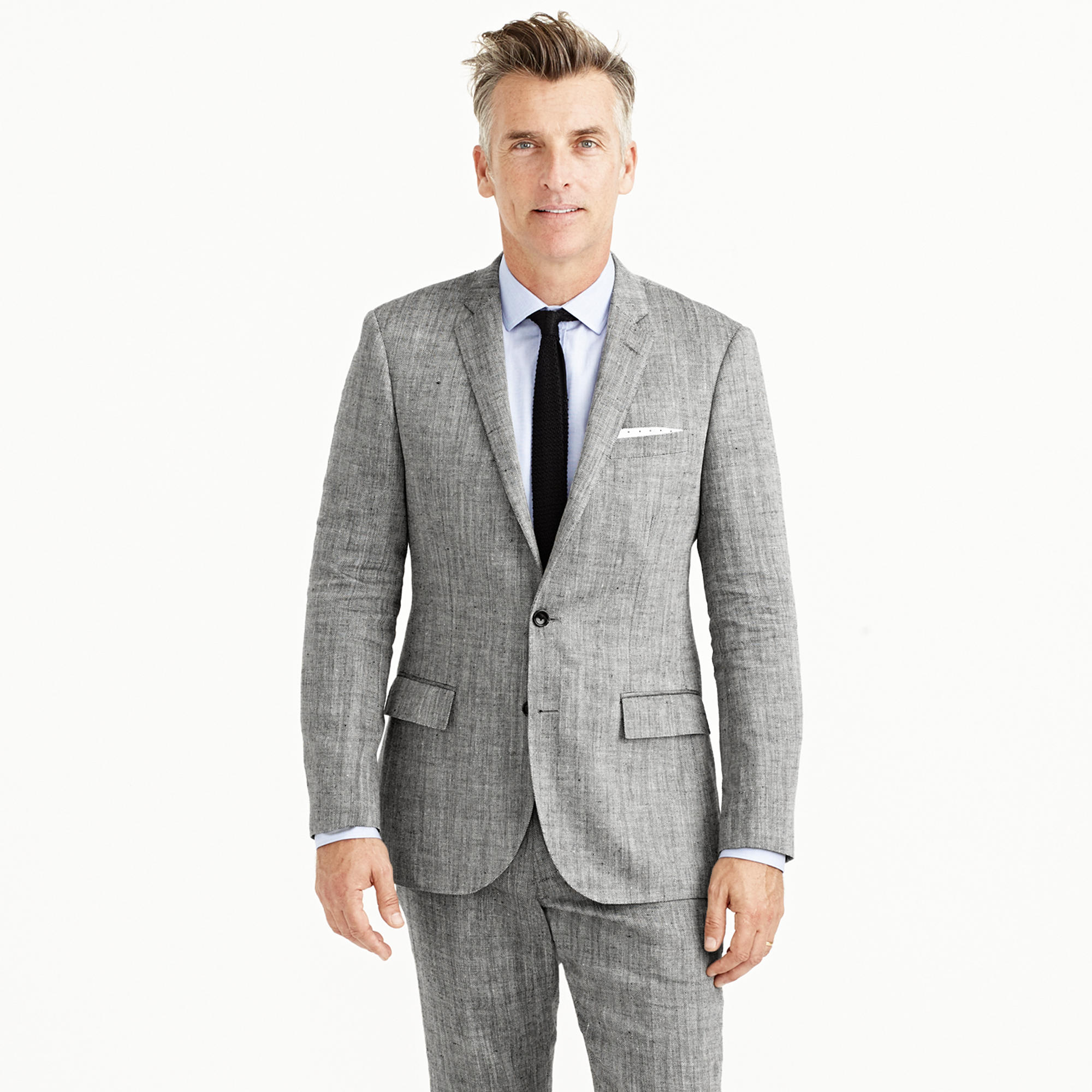Ludlow suit jacket in herringbone Italian linen-silk : Men suits
