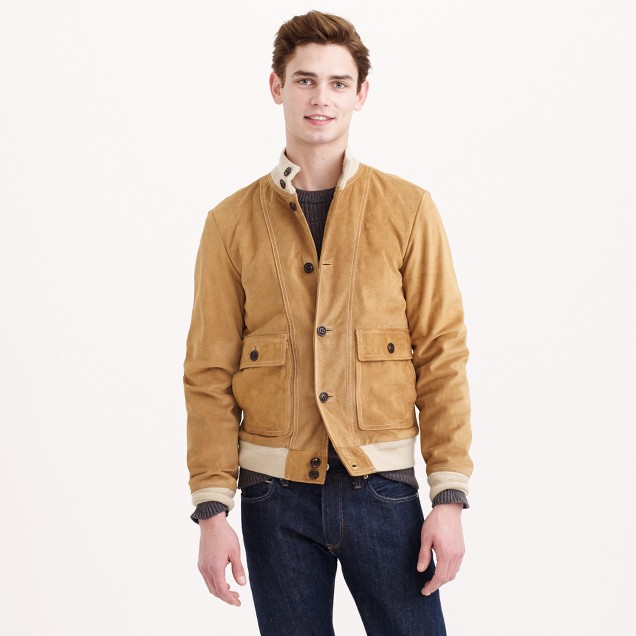 Buttoned suede bomber jacket
